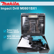 New Brand 2017 Japan Makita M0801BX1 Impact Drills Multifunction For Household Speed Regulation 500W Hand Drill Hammer With 100 Accessories