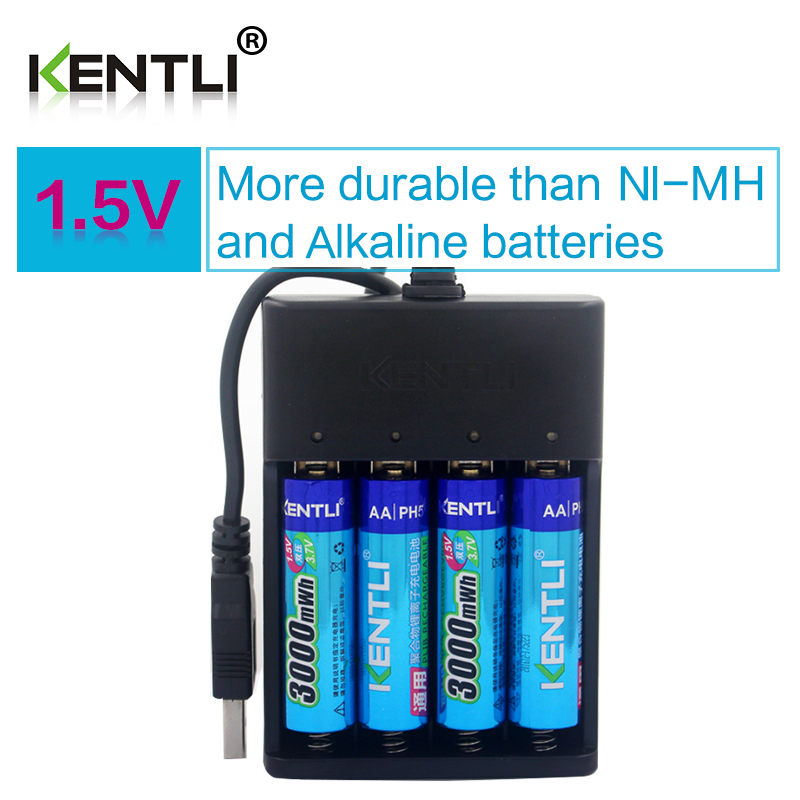 4pcs KENTLI AA 1.5V 3000mWh polymer lithium li-ion rechargeable batteries battery+4 slots USB li-ion battery charger iriver n10 bluetooth voice recorder battery 3 7v lithium polymer battery 502035 walkie talkie batteries