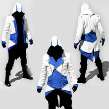 Anime Assassin's Creed Men's Connor Coat Cosplay Costume Men's Jacket Hoodies For Halloween Blue Color Free Shipping