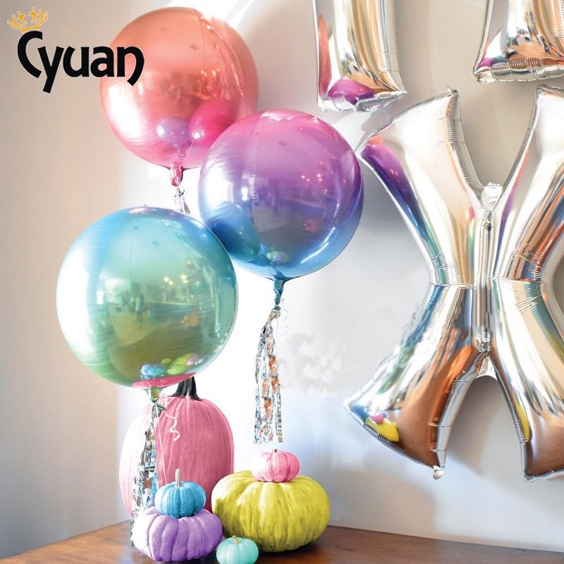 4D <font><b>22</b></font> Inch Gradient Foil Balloons Happy <font><b>Birthday</b></font> Supplies Wedding Engagement Hen Night Bachelorette Party Decorations Baloons image