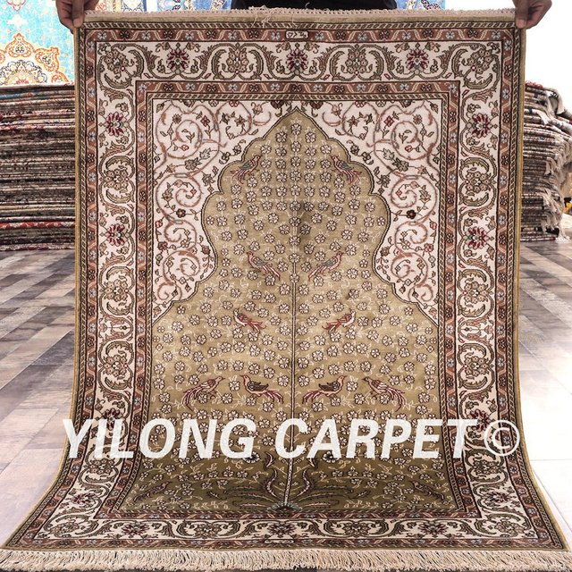 YILONG 275x4 Tabriz Silk Carpet Beige Vantage Handmade Exquisite Turkish Rug Prices