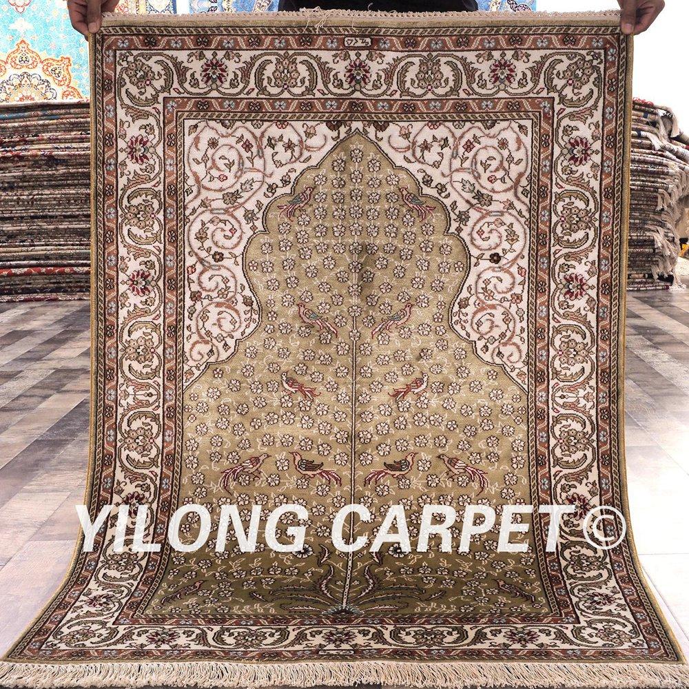 YILONG 2.75 'x4' Tabriz tapis de soie beige vantage fait à la main exquis turc tapis de soie prix (HF018A2.75x4)