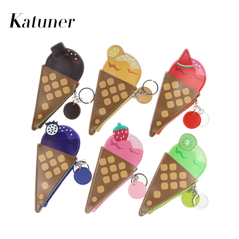 Katuner Creative Cartoon Kids Coin Purse Cute Fruit Ice Cream Pouch Bolso Kawaii Children Wallet Women Mini Bag For Girls KB033