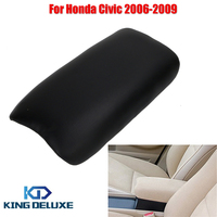 For Honda Black PU Leather Console Box Arm Rest Armrest Lid Cover For Civic 2006 2009
