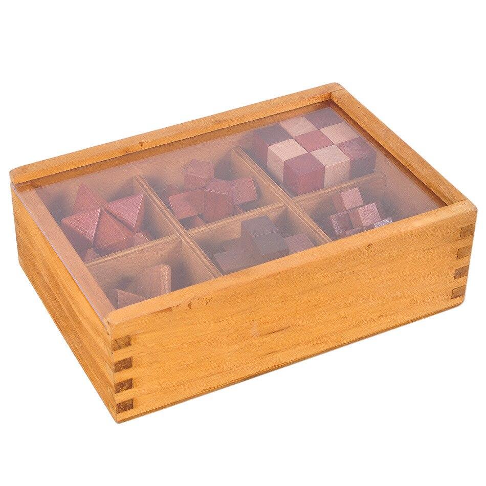 6 pcs/set Classic 3D Kong Ming lock Luban lock children wooden unlock toys adults puzzle kids classical toys 6Y+