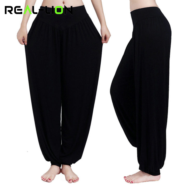 Reallion Plus Size Wide Leg Yoga Pants Women Fitness Sport Pants High Waist Stretch Sports Trousers Full Length Sport Clothing scallop hem tie waist wide leg pants