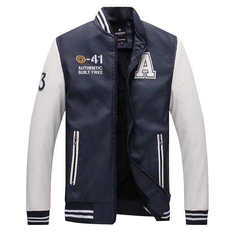 Sonbahar kış Erkekler Beyzbol Ceket Işlemeli Deri Pu Palto Slim Fit Polar Pilot Ceketler erkek Standı Yaka Üst Ceket ceket