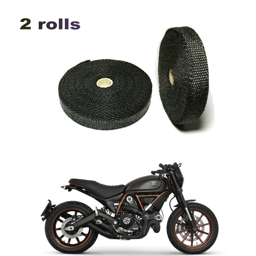 2 Rolls 5m Black Exhaust Pipe Wrap Heat Protective Fireproof Cloth Exhaust Pipe Heat Wrap 10 Pcs Cable Ties
