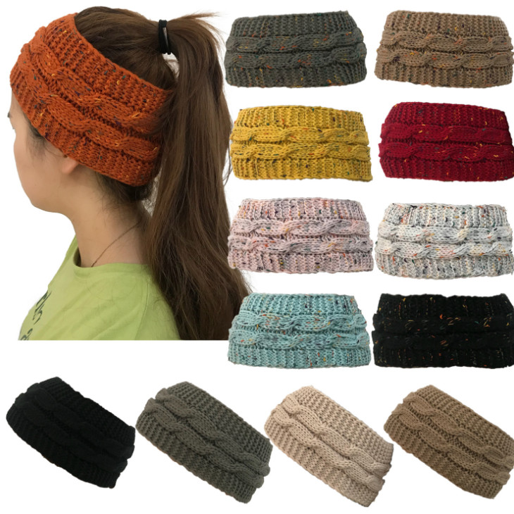 100pcs Spotted yarn coloured knitted twist hair with hollow top wool ponytail cap
