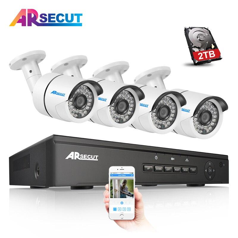 Plug And Play 48V 4CH NVR POE Video Surveillance Security System Onvif 1080P 4pcs HD 36