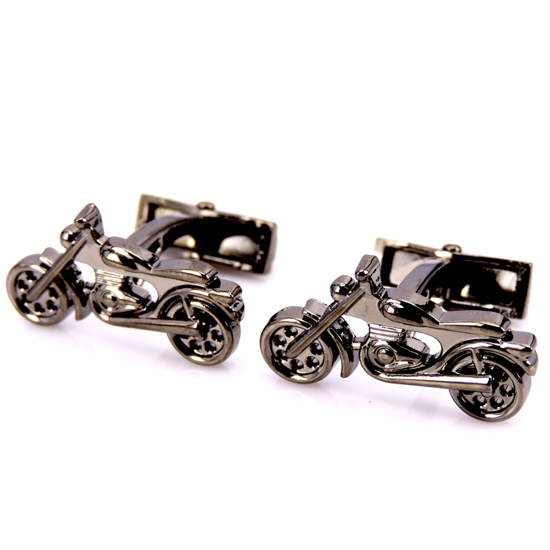 HYX Jewellery 3D black Motorcycle cufflinks male French shirt cuff links for men's Jewelry Gift free shipping