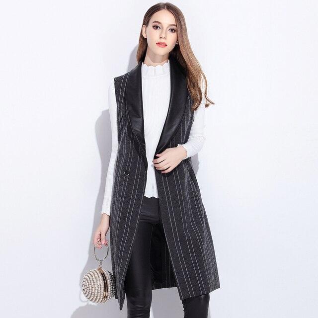 2016 Осень женщины без рукавов полосой блейзер тонкий плюс размер круто верхняя одежда ПУ лоскутное женский повседневная блузка топы экипировка XL-5XL 2068