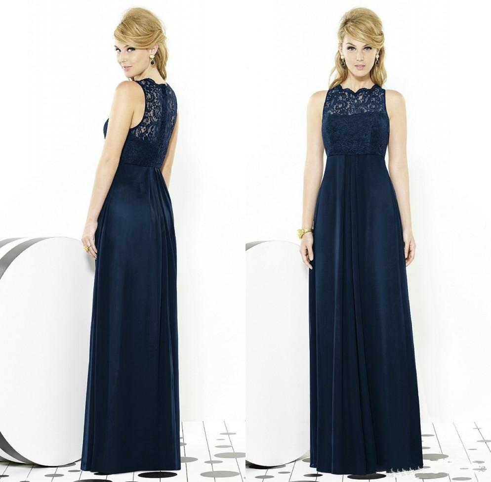 fbf9209a553 Dab3456 oscuro azul marino de damas de Honor vestidos largo 2016 más el  tamaño de la playa de encaje dama de Honor vestidos para el espectáculo  Junior del ...