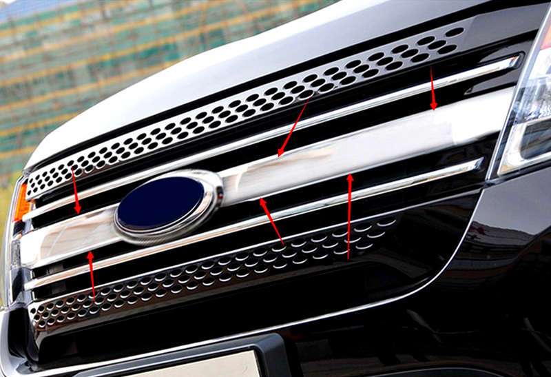 For Ford Explorer 2011 2012 2013 2014 Front Center Grill Grille Cover trim 1pcs