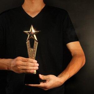 Image 4 - Free Custom Engraving  Shinning Black Crystal Base Golden Star Trophy Awards
