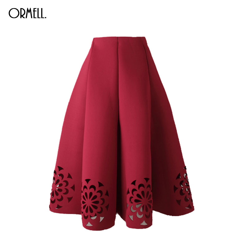 ORMELL Midi Skirt 2017 Elegant Vintage Floral Crochet Black White Red Women  High Waist A Line Zipper Sun Skirts 24d423f8c7ab