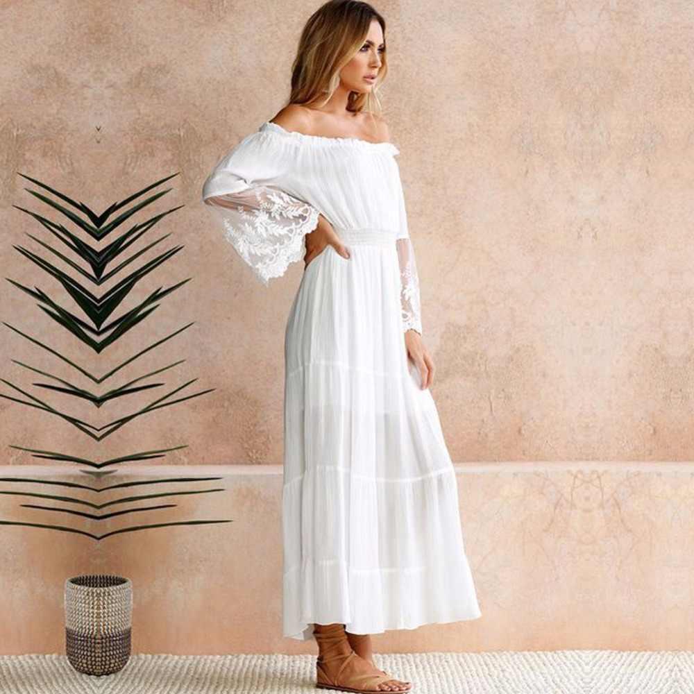 Летний Сарафан длинное женское белое пляжное платье без бретелек с длинным рукавом свободное сексуальное с открытыми плечами кружевное Бохо хлопковое Макси платье