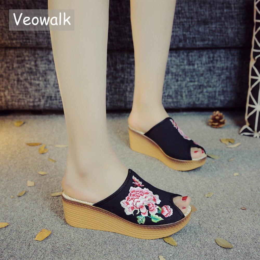 Veowalk Chinese Flower Embroidered Women Canvas Wedge Slide Slippers Open Peep Toe Retro Ladies Comfort Summer Platform Shoes