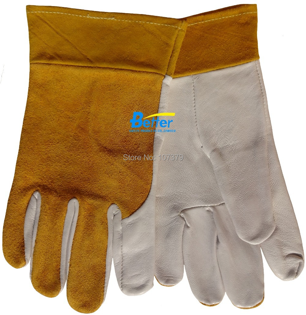 Work Glove Welding Glove Leather TIG MIG Welding Work Glove Comfoflex Grain Goatskin Leather Mig Tig Safety Glove leather safety glove deluxe tig mig leather welding glove comfoflex leather driver work glove