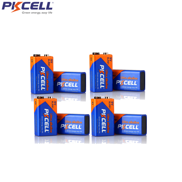 8 قطعة PKCELL القلوية 9 V 6LR61 بطارية 6AM6 1604A MN1604 522 بطاريات ل كاشف الدخان مواقد الغاز سخان مياه ميكروفون