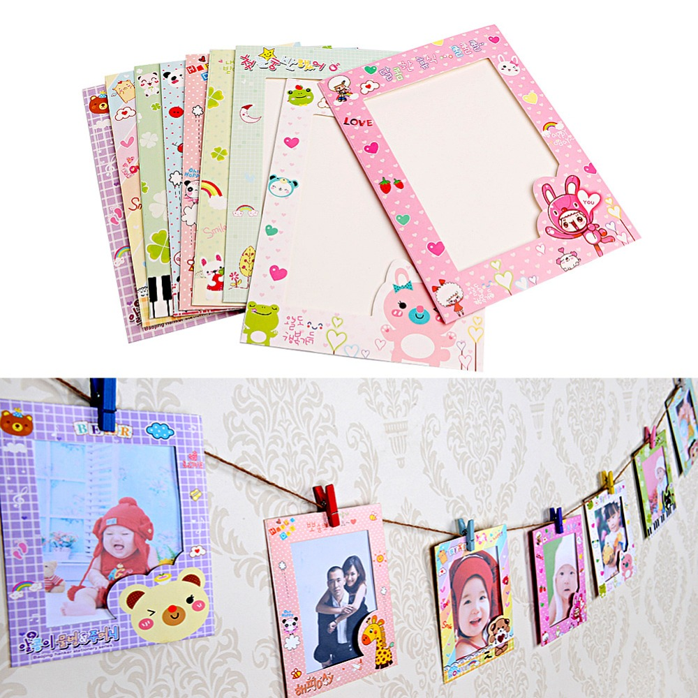 newest 9 pcsset 6 inch wall hanging cute animal paper photo frame for pictures