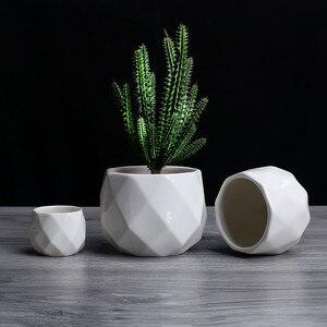 Image 3 - Креативный керамический Алмазный геометрический цветочный горшок, простой суккулентный контейнер для растений, зеленые плантаторы, маленькие горшки для бонсай, украшение для дома