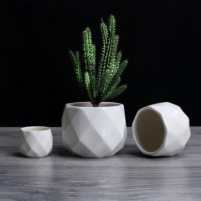 Ceramic Diamond Geometric Flowerpot