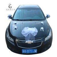 Genie Beyaz Düğün Araba Dekorasyon Set Yapay Çiçekler Köpük Gül Ipek Pompoms Inciler DIY Arabalar Aksesuarları Çelenk Garland 2017