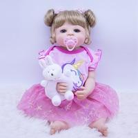 new full Silicone Reborn Baby Doll Girl Toys 55cm Lifelike blue eyes Babies Boneca VInyl Fashion Dolls Bebes Reborn gift toy NPK