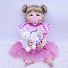 цена на new full Silicone Reborn Baby Doll Girl Toys 55cm Lifelike blue eyes Babies Boneca VInyl Fashion Dolls Bebes Reborn gift toy NPK