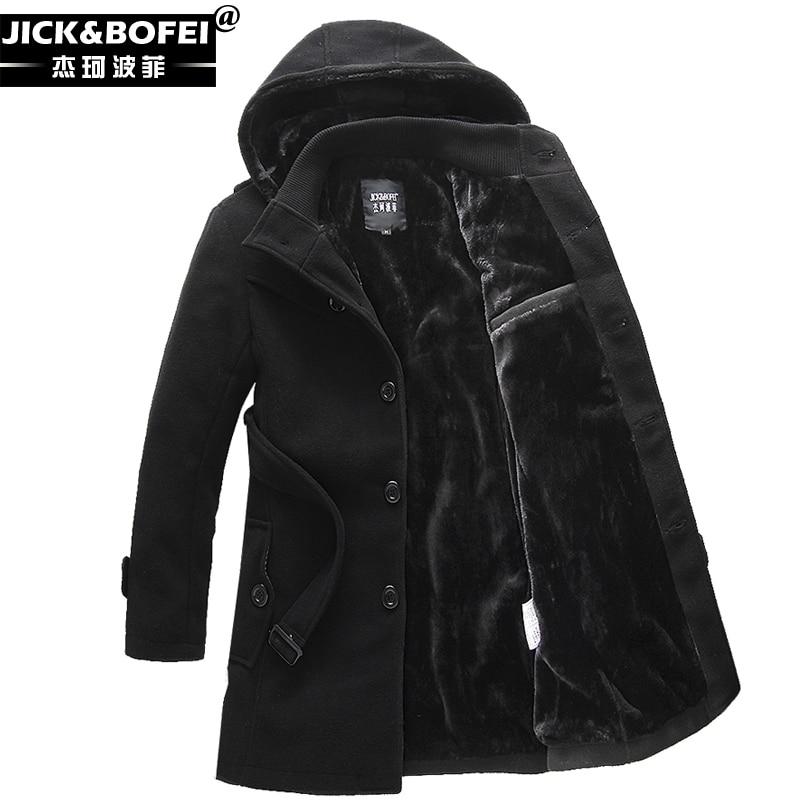mens winter single breasted hooded wool coat men thicken