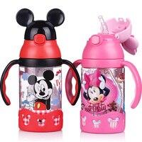 Disney 400ml Plastic Water Bottle With Straw Water Tumbler Drink Bottle Portable School Bottles Sport Pot