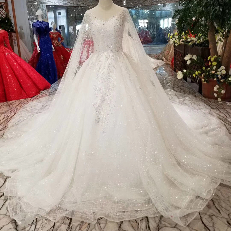 YuNuo A-Line wedding dress with sleeve shawl v-neck cap sleeves bride dresses wedding gown long train new fashion