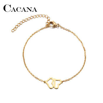 CACANA Stainless Steel Bracelet For Women Man Double Heart Gold And Silver Color Pulseira Feminina Lover's Engagement Jewelry image