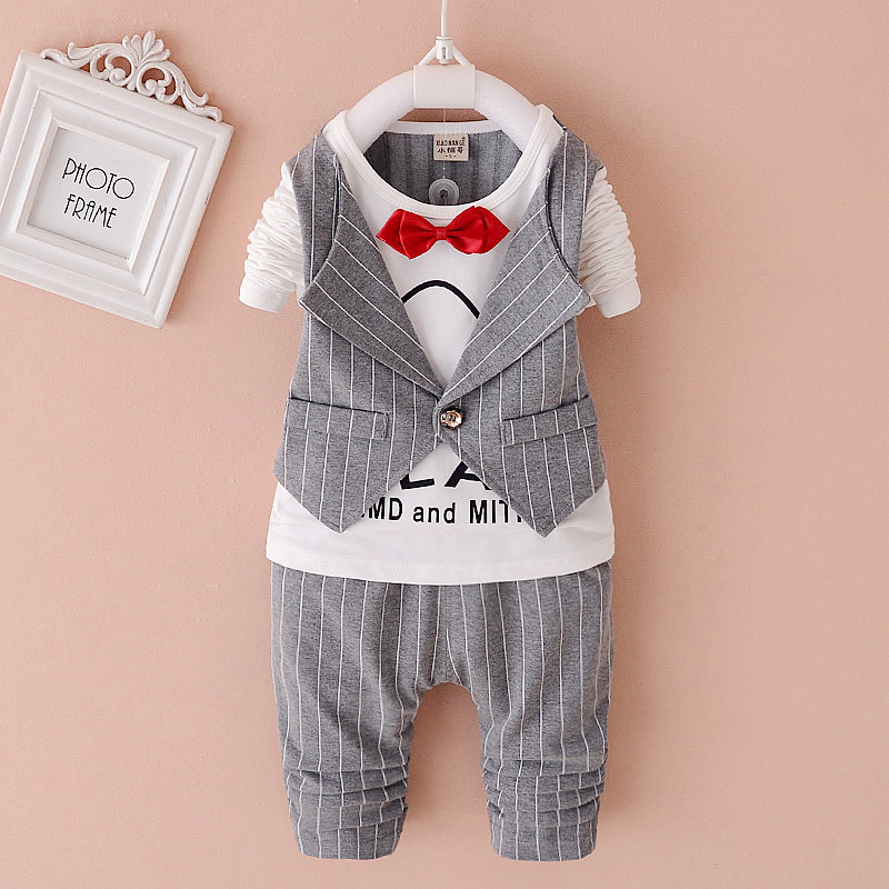 New 2018 Spring Fashion Baby Boy Clothes Gentleman Suit Short Sleeve Stitching plaid vest and tie T-shirt + Pants Clothing Set kids clothing set plaid shirt with grey vest gentleman baby clothes with bow and casual pants 3pcs set for newborn clothes