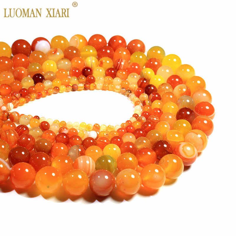 Wholesale Natural Orange Stripes Agates  Stone Beads For Jewelry Making DIY Bracelet Necklace 4/6/8/10/12 /14 mm Strand 15''