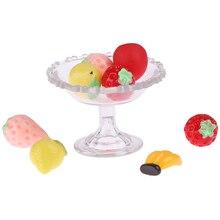 9 шт. 1:6 кукольный домик прозрачный стеклянный десертный фруктовый поднос с фруктовым кукольным домиком миниатюры Acc Miniaturas кукольная мебель