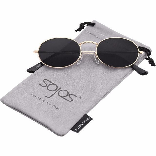 23e6acf7822 SOJOS 2018 Vintage Slender Oval Sunglasses for women Small Metal Frame  Candy Colors Yellow Red Lens Round Sun Glasses SJ1087