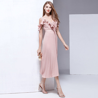 Catwalk Designer High Quality 2017 Spring And Summer New Women Beach Party Vintage Sexy V Collar