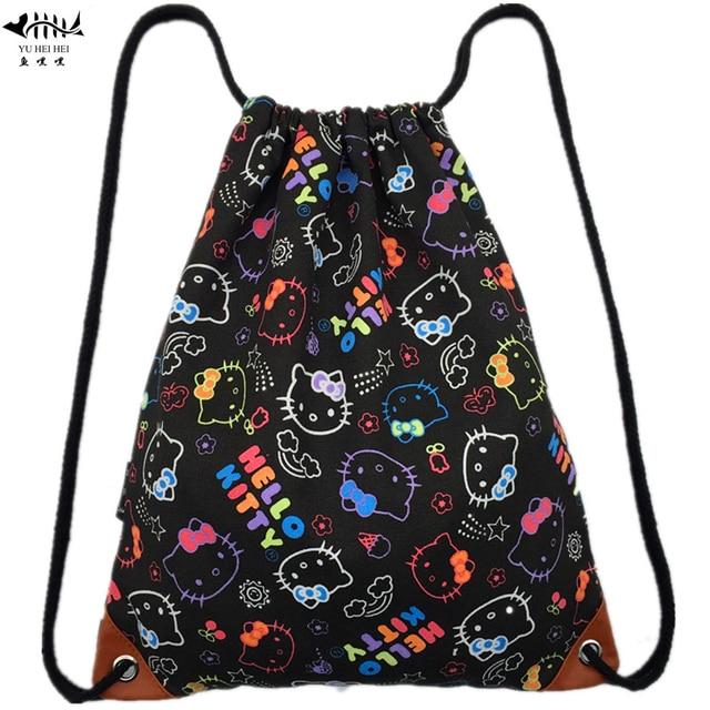 ea61dd55299d Cartoon Canvas Drawstring Bags Backpacks Women s Handbags Lady Girl Woman  Backpack Sackpack Draw String Female Bags Hello Kitty