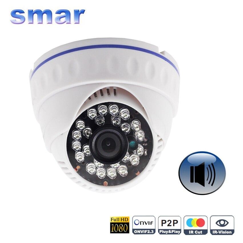 imágenes para Onvif HD 720 P 960 P 1080 P Cámara IP Soporte De Audio Con Día y Noche Cámara Domo 3.6mm lente de Captación del Micrófono externo ABS plástico