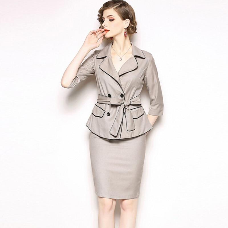 6b0675e352dad D'affaires Femelle Veste Porter Costumes Mode Ol Ceinture Robe Élégante  Femmes Blazer Vêtements Avec Lady Formelle Et Marque Office ...