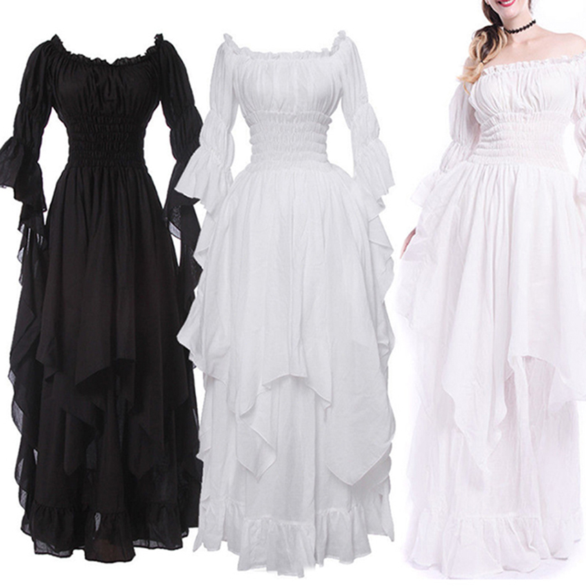 98c05caf3c1 Medieval Womens Lolita Off Shoulder Layered Princess Long Dress Ball Gown  Cosplay Costume Trumpet Sleeve Purity