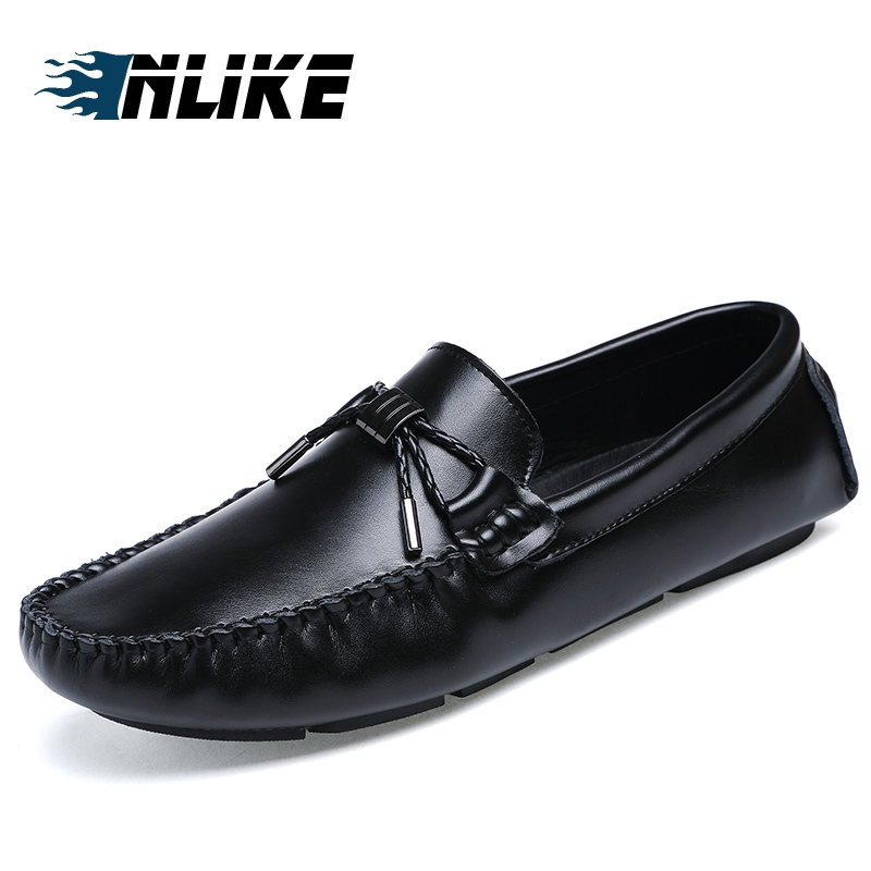 Inlike Mens Shoes Casual Brands Genuine Leather Men Loafers Luxury Moccasins Comfy Breathable Slip On Boat Shoes