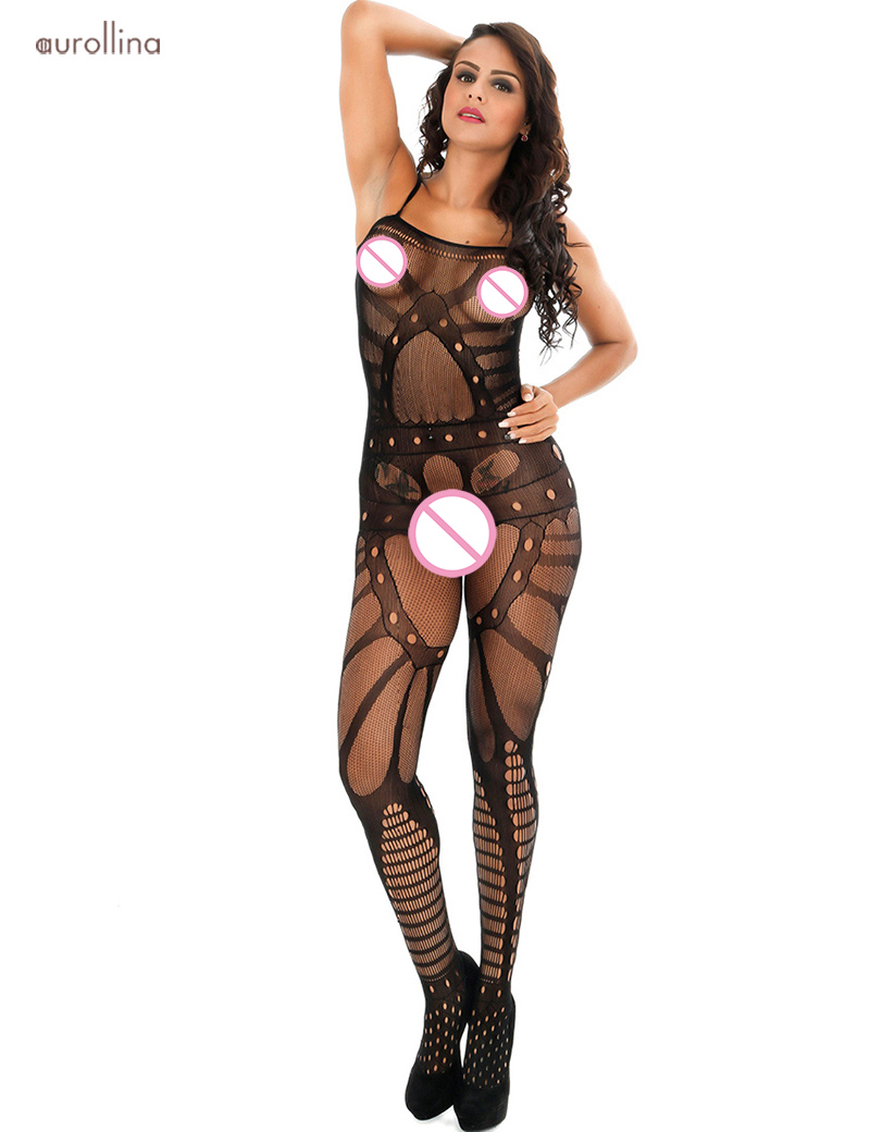 Sexy Nightie Lingerie Open Crotch Hollow Out MILF Sulty Bodystocking Dress (4)