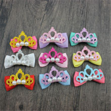 купить 6PCS cute little crown bow decorated girl handmade headband Scrunchy hair accessories children по цене 47.52 рублей
