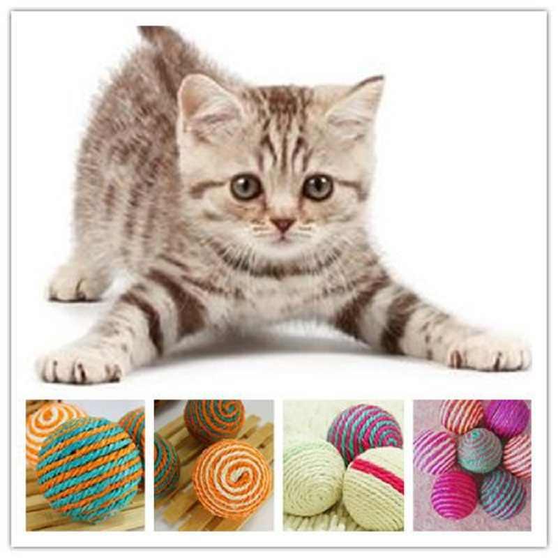 1х Кот котенок сизаль плетение из веревки мяч Прорезыватель играть Жевательная
