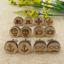 Wooden Cufflinks Men Accessories