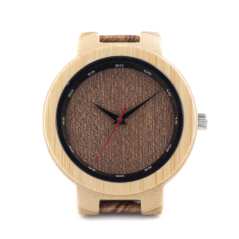 BOBO BIRD D16 Bamboo Wood Watch Men Wooden Grain Leather Band Scale Circle Japan Movement Quartz Watches for Men Gift Box bobo bird luxury bamboo wood men watch with engrave flower bamboo band quartz casual women watch full wooden watch in gift box