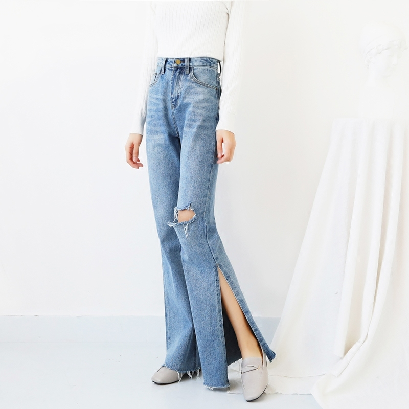 Spring Summer High Waist Jeans For Women 2019 Side Split Flare Denim Pants Casual Ripped Hole Trousers